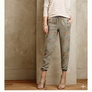 Anthropologie Floral Joggers - Small